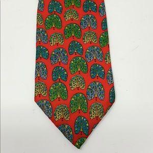 Vintage Christian Dior Red Peacock Silk Tie